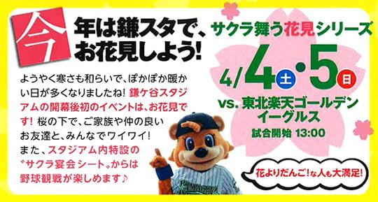 4/4(土)・5(日)は「サクラ舞う花見シリーズ」in鎌ケ谷